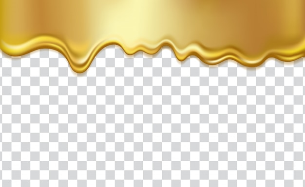 Golden flowing liquid,  on transparent background. gold honey, syrup, oil, paint or metal dripping Premium Vector