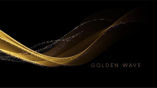 スパンコールが付いた金色の流れる波は、黒にほこりをきらめかせます。 無料ベクター