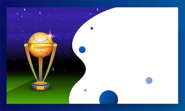 Golden football trophy. Premium Vector
