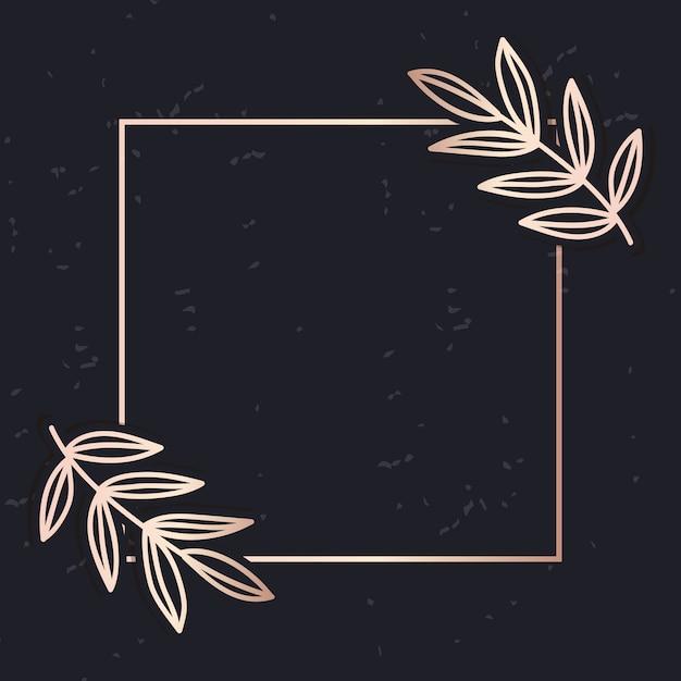 Golden frame art vector leaves elegant background Premium Vector