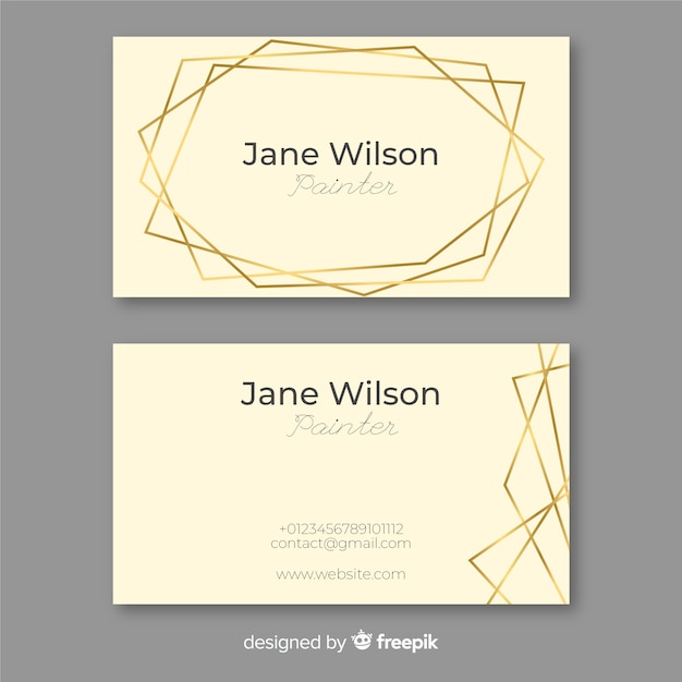 Golden frame business card Free Vector
