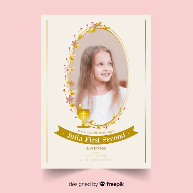 Golden frame first communion invitation Free Vector