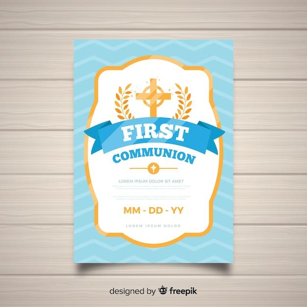 Golden frame first communion invitation Free Vector
