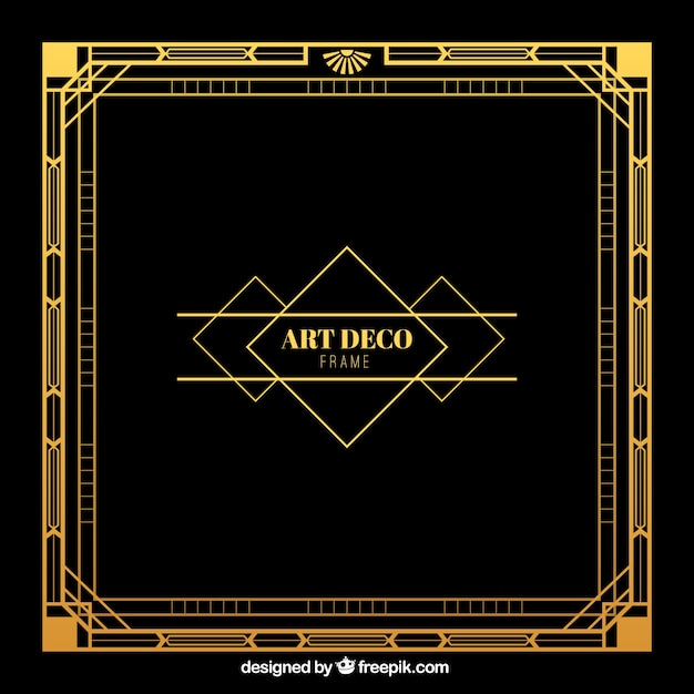 golden frame in deco style vector free