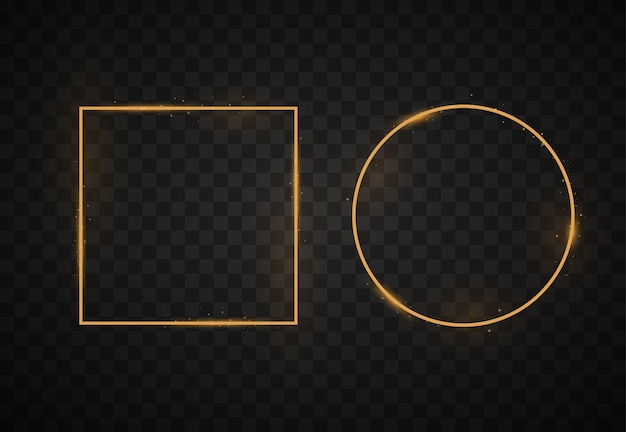 Golden frame, light effects, square, round, oval borders. Premium Vector