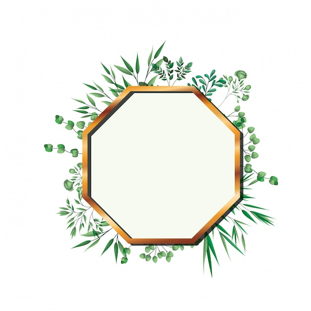 Golden frame octagon with foliage isolated Premium Vector