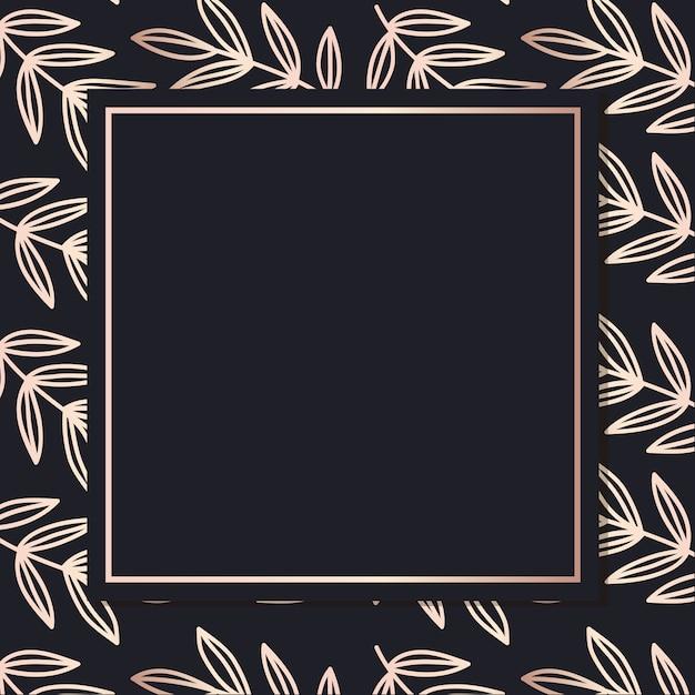 Golden frame pattern art leaves elegant background cover card Premium Vector