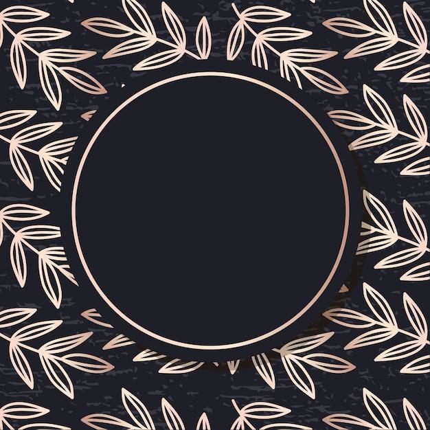 Golden frame pattern art vector leaves elegant background Premium Vector