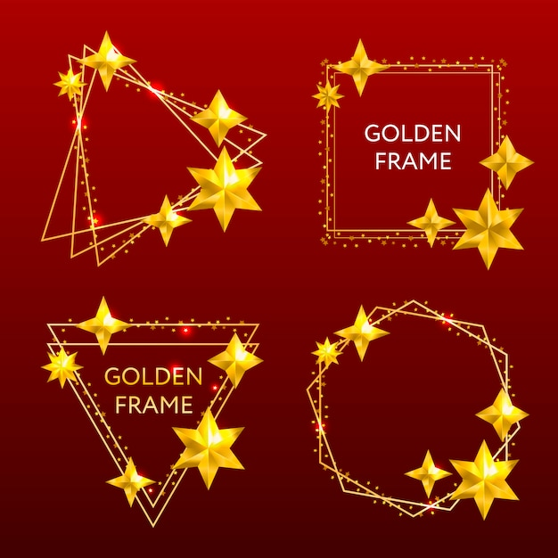 Golden frame. shining rectangle banner. Premium Vector