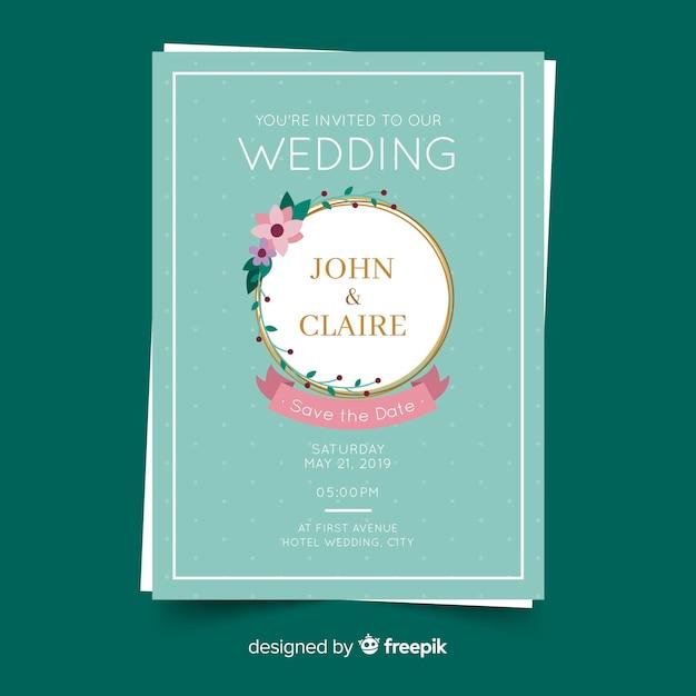 Golden frame wedding invitation template Free Vector