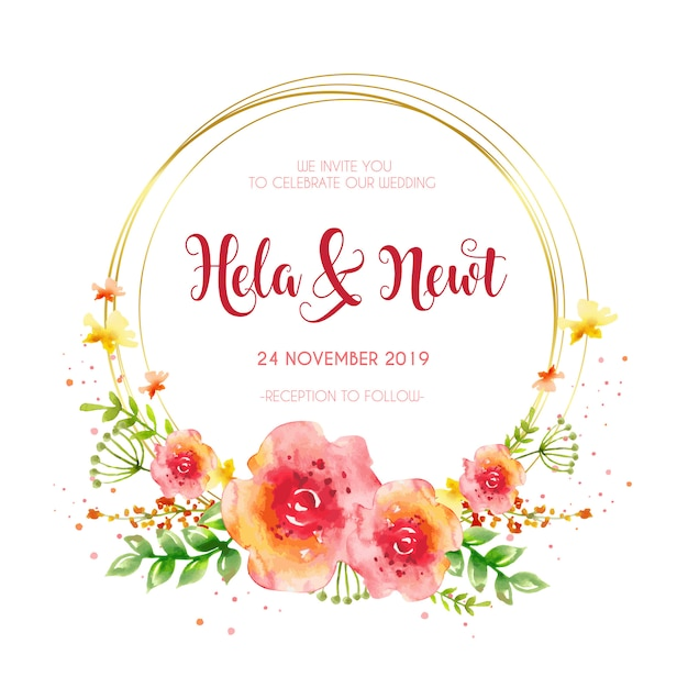 Golden frame wedding invitation Free Vector