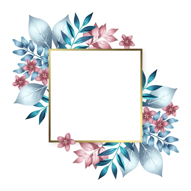 Golden frame with colorful winter flowers Free Vector