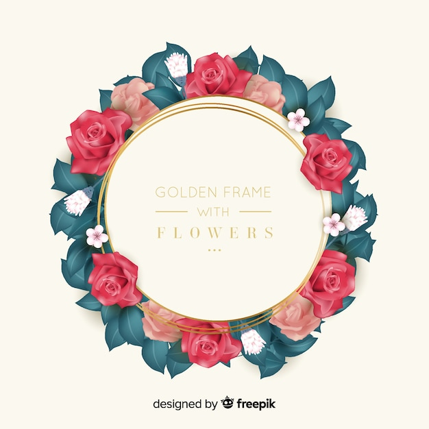 Golden frame with flowers Free Vector