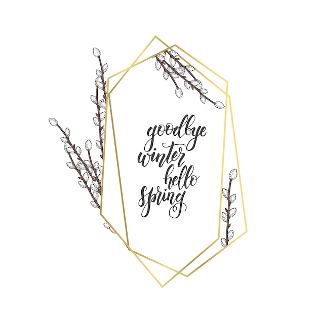 Golden frame with geometric diamond shapes and hand drawn  willow Premium Vector