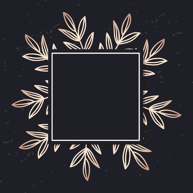 Golden frame with leaves elegant cover Premium Vector