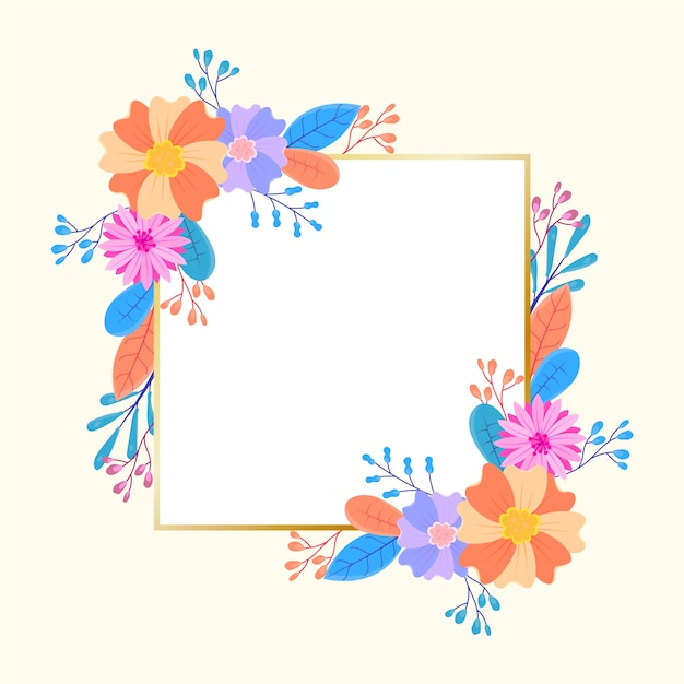 Golden frame with winter florals Free Vector