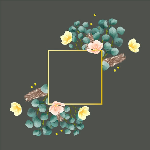 Golden frame with winter flowers Free Vector