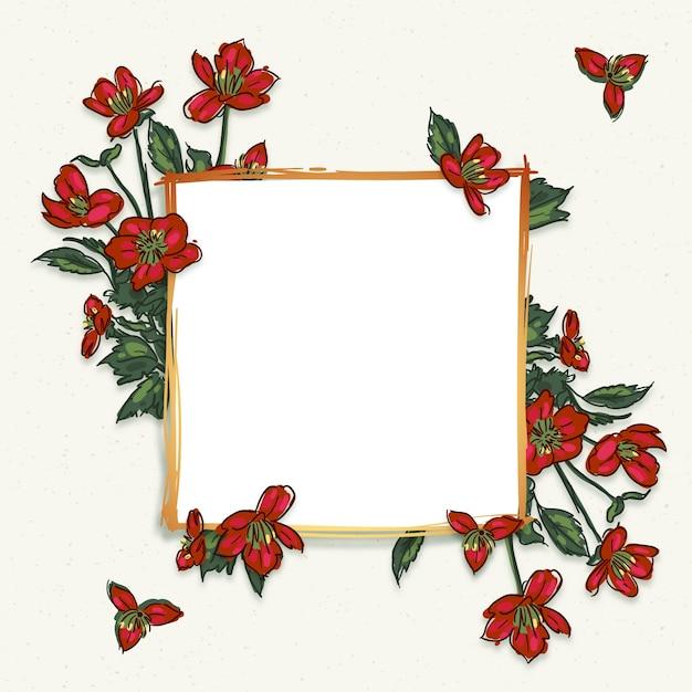 Золотая рамка с зимними цветами Бесплатные векторы