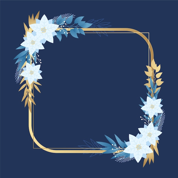 Golden frame with winter flowers Premium Vector