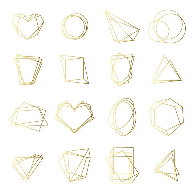 Набор золотых рамок Бесплатные векторы