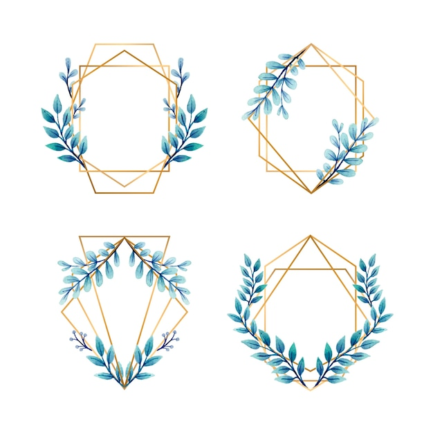 Golden frames with blue leaves for wedding invitations Free Vector