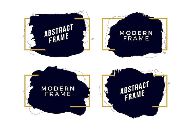 Golden frames with brush strokes Free Vector