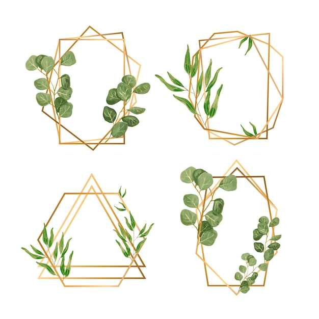 Golden frames with leaves for wedding invitation Free Vector