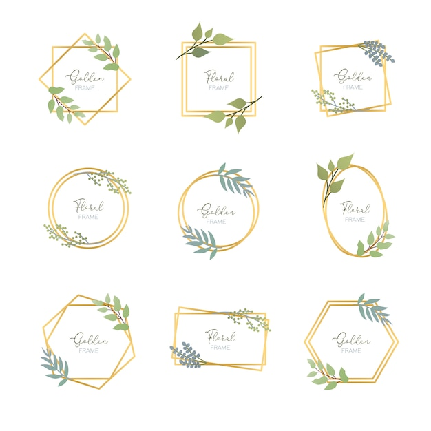Golden frames with leaves Premium Vector
