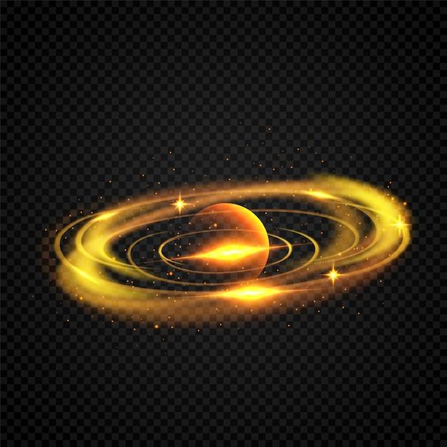 惑星軌道サークルを持つ黄金銀河。輝く輝き、星空。 Premiumベクター