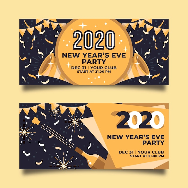 Golden garland and confetti new year 2020 banners Free Vector