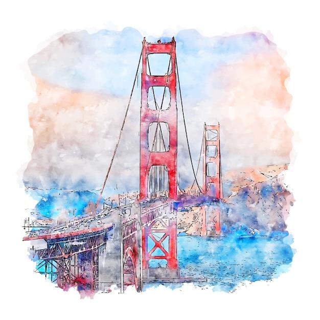 ゴールデンゲートブリッジカリフォルニア水彩スケッチ Premiumベクター