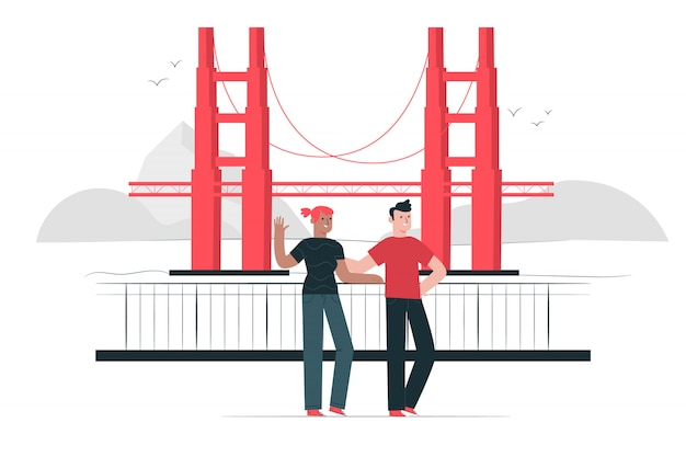 Golden gate bridge concept illustration Free Vector