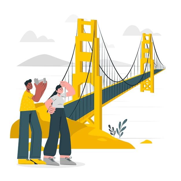 ゴールデンゲートブリッジの概念図 無料ベクター