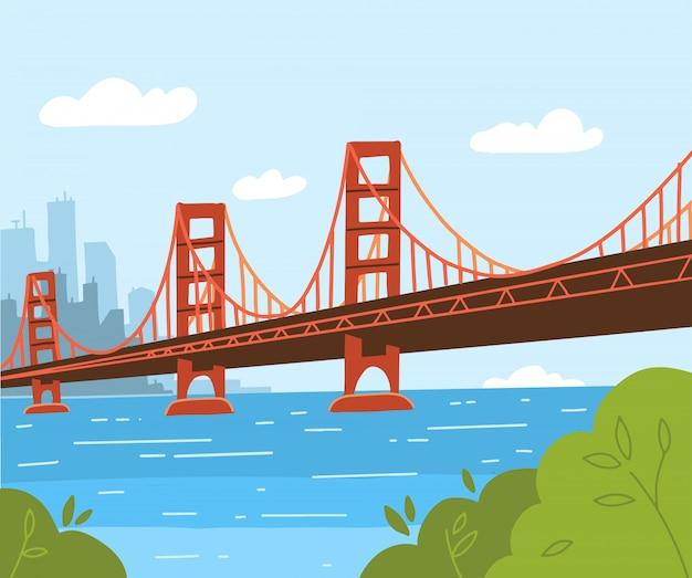 ゴールデンゲートブリッジのイラスト。フラットスタイルのデザイン。アメリカとアーバニズムの象徴 Premiumベクター