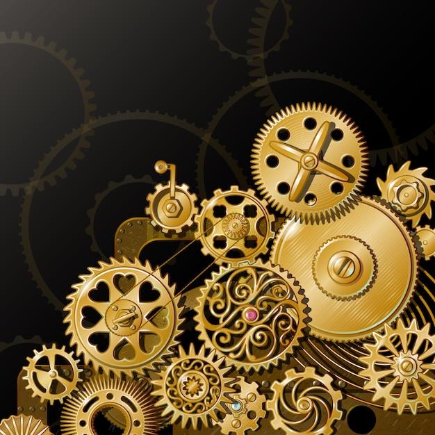Golden gears composition Free Vector