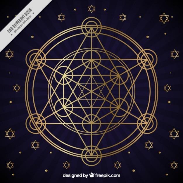 Golden geometric figures Free Vector