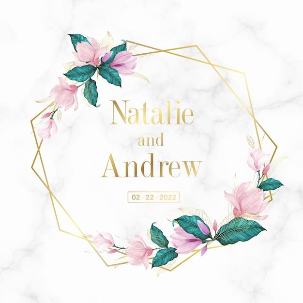 結婚式のモノグラムのロゴと招待状の大理石の背景に花柄の黄金の幾何学的なフレーム 無料ベクター