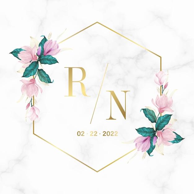 결혼식 모노그램 로고 및 초대 카드 대리석 배경에 꽃과 황금 기하학적 프레임 무료 벡터