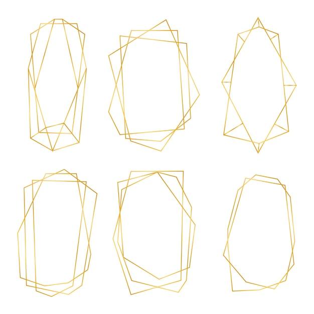 Золотые геометрические рамки. коллекция золотых многоугольных роскошных рам. геометрический многогранник дизайн для свадебной открытки, приглашения, логотип, обложка книги, художественное оформление и плакат. иллюстрация Premium векторы