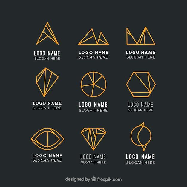 Golden geometric logos in monoline style