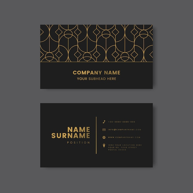 Golden geometric pattern on black business card vector Free Vector