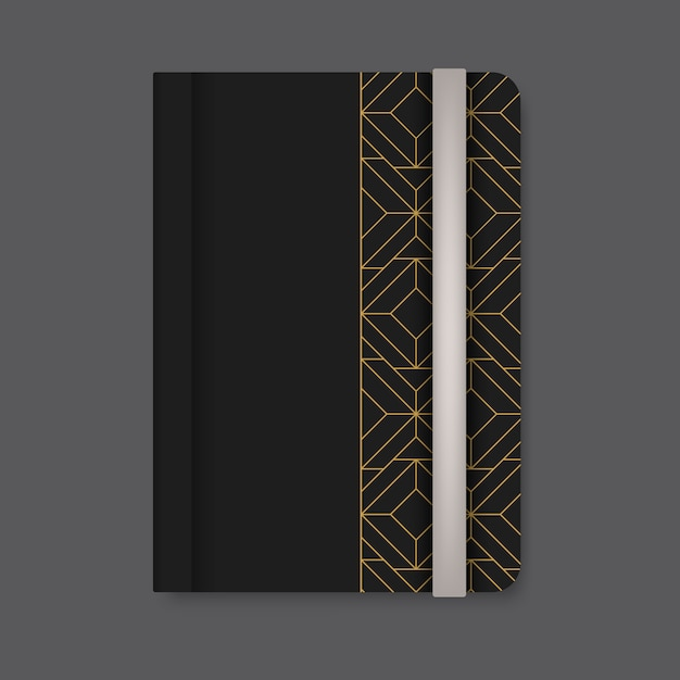 Golden geometric pattern cover of a black diary vector Free Vector