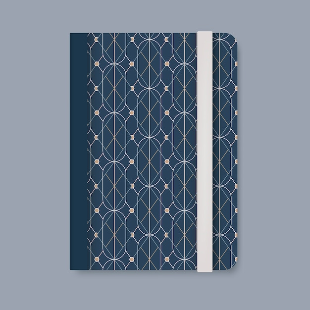 Golden geometric pattern cover of a blue diary vector Free Vector