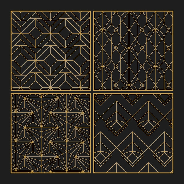 Golden geometric seamless patterns set on black background Free Vector