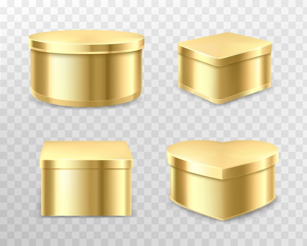 Golden gift tin boxes for tea, coffee or sweets Free Vector