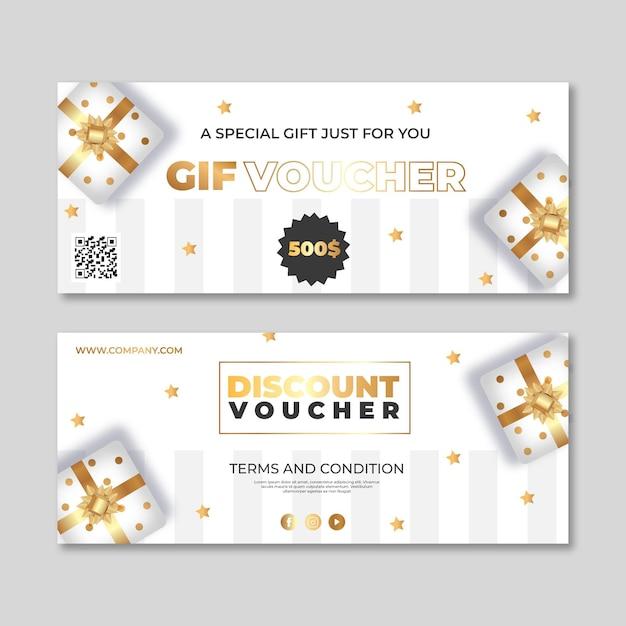 Набор шаблонов золотых подарочных сертификатов Бесплатные векторы