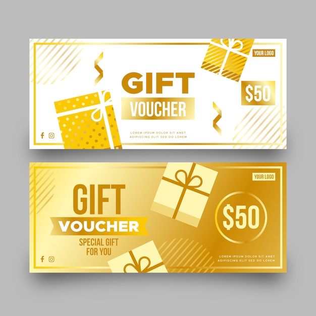 Golden gift voucher template with gift boxes Free Vector