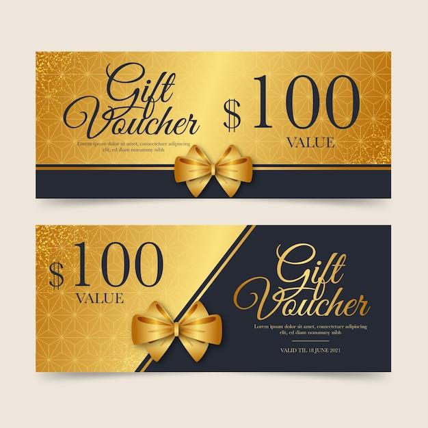 Modello del buono regalo d'oro Vettore gratuito