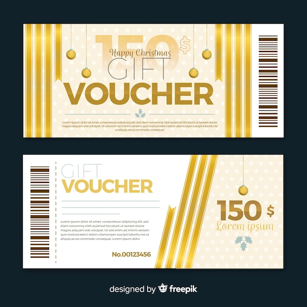 Golden gift voucher Free Vector