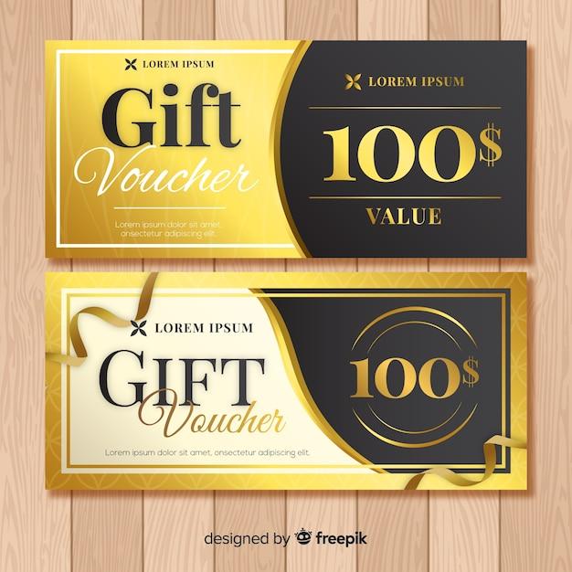 Golden gift voucher Free Vector